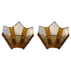 Pair of Sconces Hammered Glass Gold Wrought Iron by Longobard, Italy, 1970s