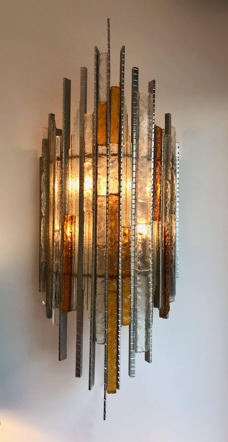 Pair of Sconces Hammered Glass Iron by Biancardi and Jordan Arte, Italy, 1970s For Sale 1