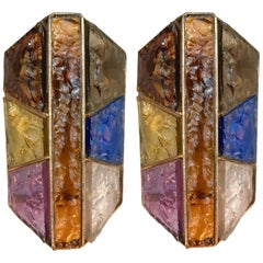 Pair of Sconces Hammered Glass Metal Gold Leaf by Longobard, Italy, 1970s