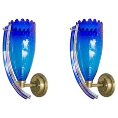 Pair of Sconces in blue color Blown Murano Glass, 1960s, Italy
