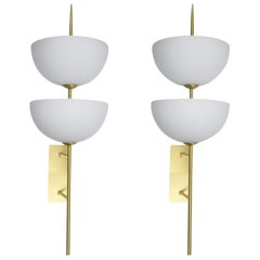 Pair of Sconces in Brass and Murano Glass