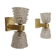 Pair of Sconces in Rostrato Murano Glass by Barovier e Toso, Clear Glass