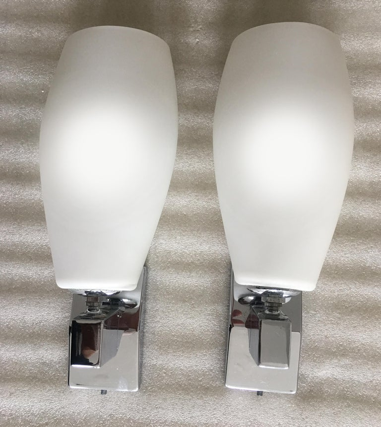 Italian Pair of Sconces in the Style of Fontana Arte, Italy, 1970 For Sale