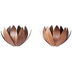 Pair of sconces in walnut designed by Mac Master. United Kingdom, 2018.