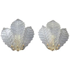 Pair of Sconces Italian Design Murano Leaves 1970s Gold Structure