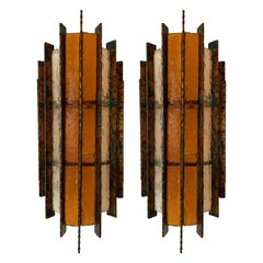 Pair of Sconces Metal Glass Gold Leaf by Biancardi Arte, Italy, 1970s