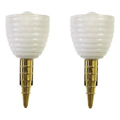 Pair of Sconces Midcentury Barovier & Toso in Murano Glass and Brass, 1960s