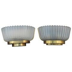 Pair of Sconces Midcentury Italian Design Seguso 1950s Gold Brass Murano Glass