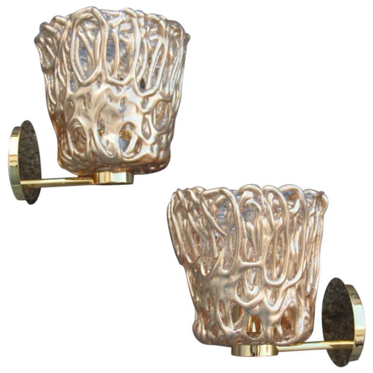 Pair of Sconces Modern Italian Design Gold Leaf Murano Glass Vintage Murano Luce