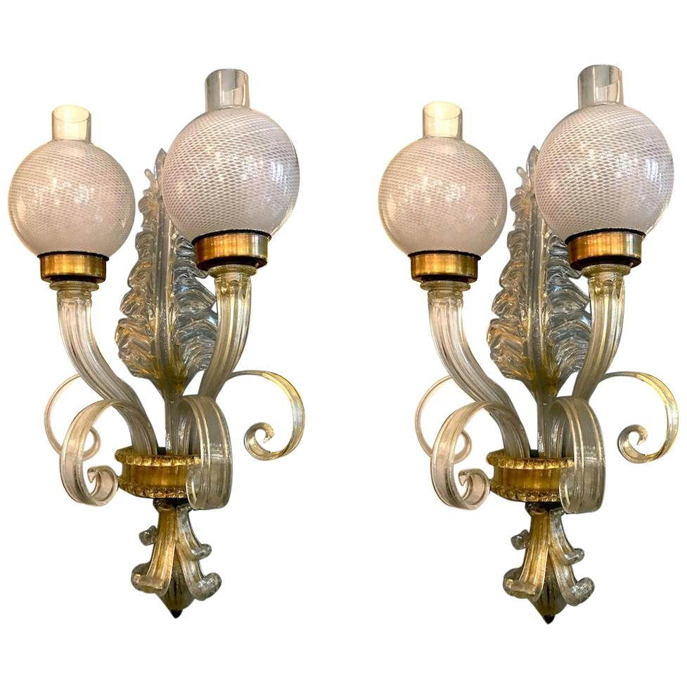 "Pair of  Sconces ""Reticello"" by Seguso, Murano, 1940"