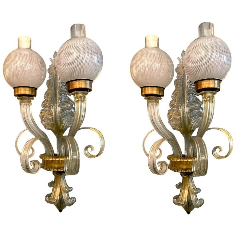 """Pair of  Sconces """"Reticello"""" by Seguso, Murano, 1940 For Sale"""