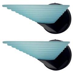 Pair of Sconces with Blue Murano Glass & Original Sticker by AV Mazzega, 1970s