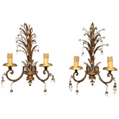 Pair of Sconces with Pineapple Leaves in the Style of Maison Baguès