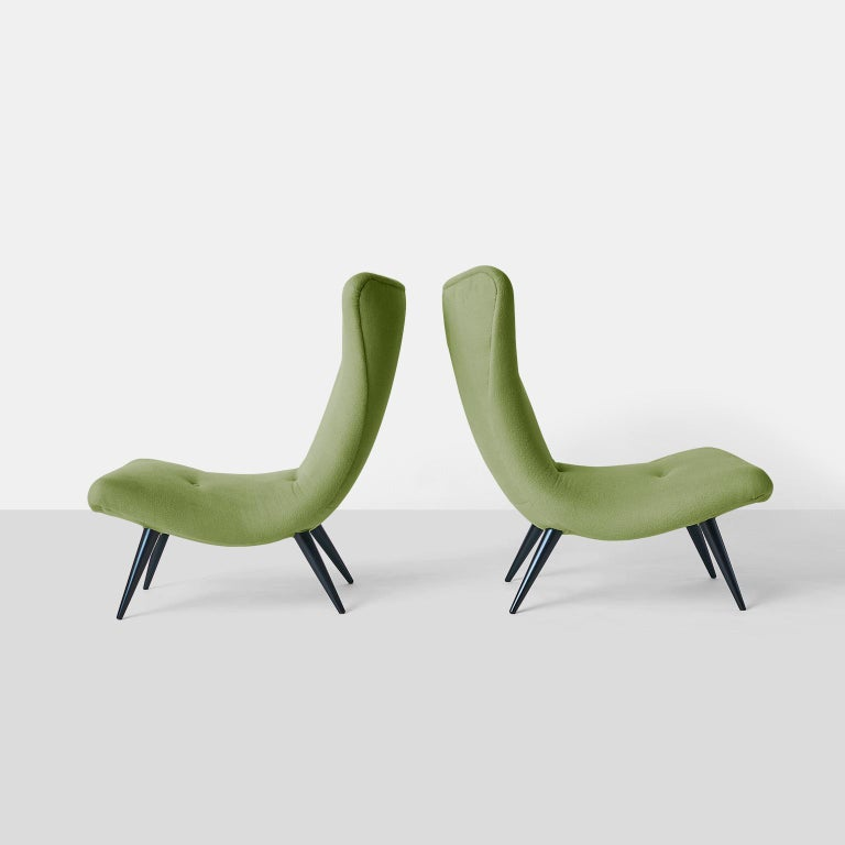 Pair of scoop chairs by Karpen A pair of modern scoop chairs by The Karpen of California Company with ebonized stiletto legs. Completely restored in a luxurious Sandra Jordan Prima Alpaca fabric in color Cucumber. USA, circa 1950s.
