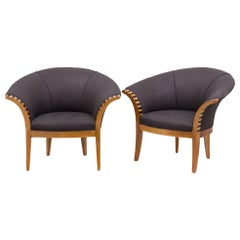Pair of Scooped Back Linen Upholstered Armchairs, 1990s