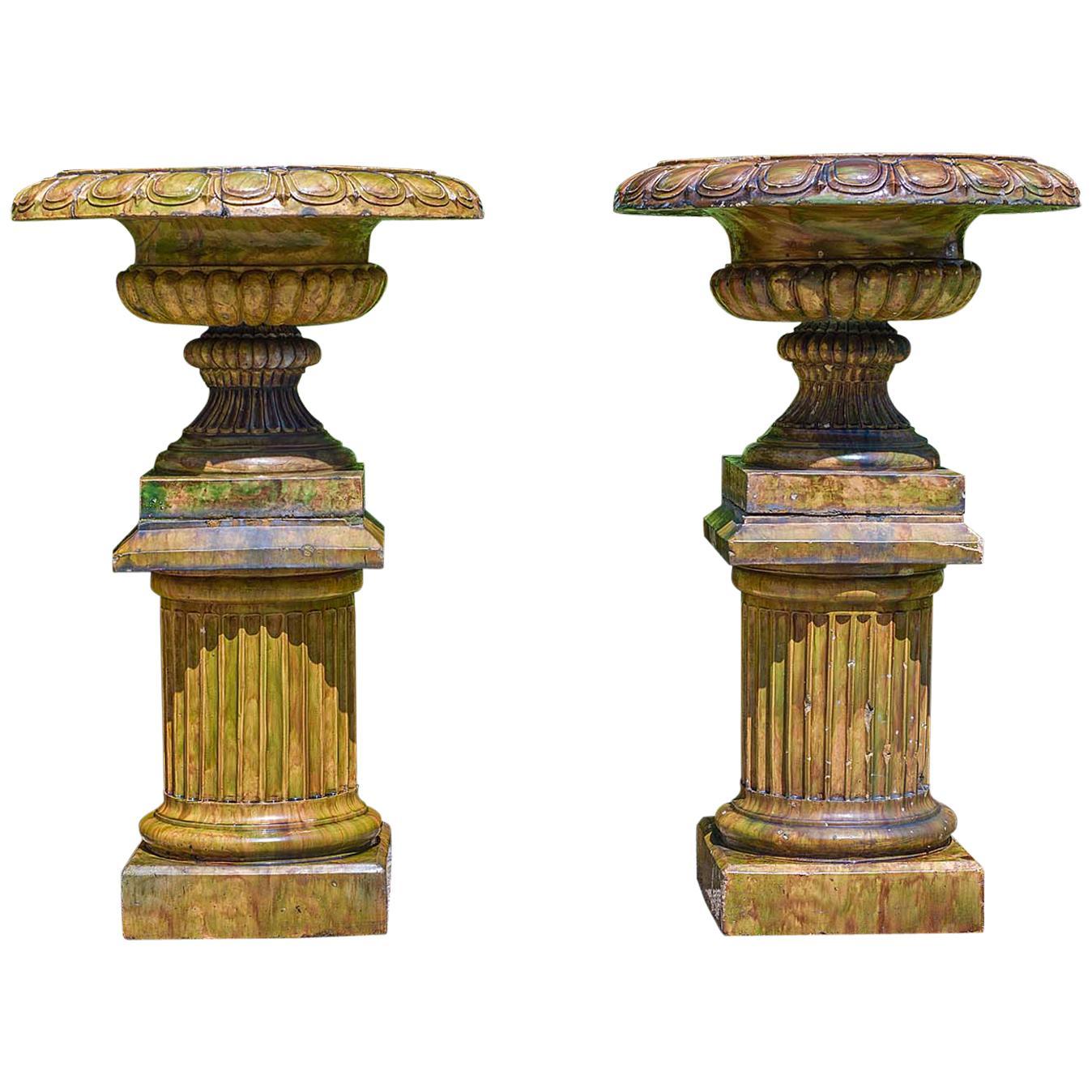 Pair of Scottish Glazed Stonewear Campan Style Garden Urns