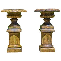 Pair of Scottish Glazed Stonewear Campan Style Garden Urns