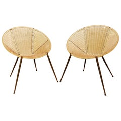 Pair of Scoubidou Outdoor Round Armchairs, Italy, 1950s