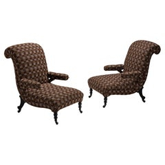 Pair of Scroll Back Armchairs in Wool Blend from Pierre Frey, France, Circa 1890