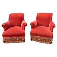 Pair of Scrolled Back Napoleon III Armchairs in Persimmon Velvet