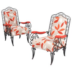 Pair of Scrolled Wrought Iron Upholstered Armchairs, France, 1940s