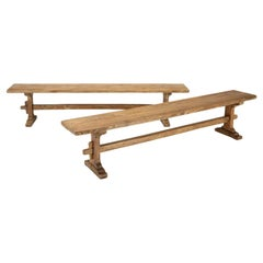 Pair of Scrubbed Pine Farmhouse Table Benches, Fully Restored Structurally