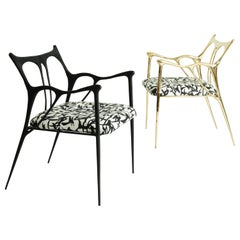 Pair of Sculpted Brass Chairs, Misaya