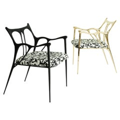 Pair of Sculpted Brass Chairs, Misaya