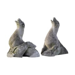 Pair of Sculpted Limestone Models of Seals