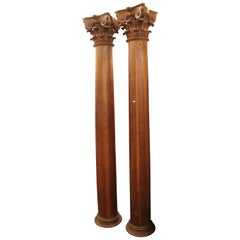 Pair of Sculpted Wood Column, circa 18th Century