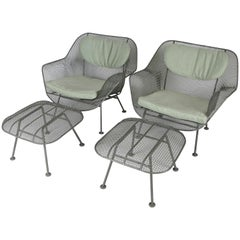 Pair of Sculptura Lounge Chairs and Ottomans by Russell Woodard
