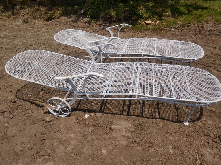 Welded Pair of Sculptura Outdoor Iron Chaise Lounges by Russell Woodard For Sale
