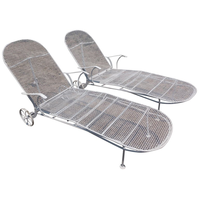 Pair of Sculptura Outdoor Iron Chaise Lounges by Russell Woodard For Sale