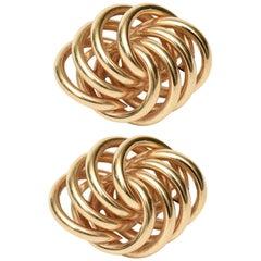 Pair of Sculptural 14 Karat Gold Pierced Lever Back Earrings Vintage