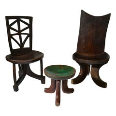 Pair of Sculptural 1960s Ethiopian Wooden Hand Carved Chairs & Stool