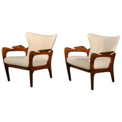 Pair of Sculptural Adrian Pearsall Walnut Chairs, 1960s