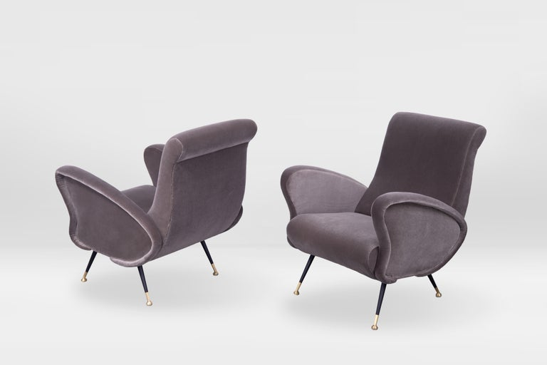 Brass Pair of Sculptural Armchairs, Italy 1950s, Reupholstered in Kvadrat Velvet For Sale