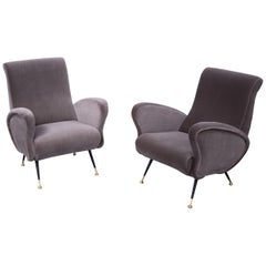 Pair of Sculptural Armchairs, Italy 1950s, Reupholstered in Kvadrat Velvet