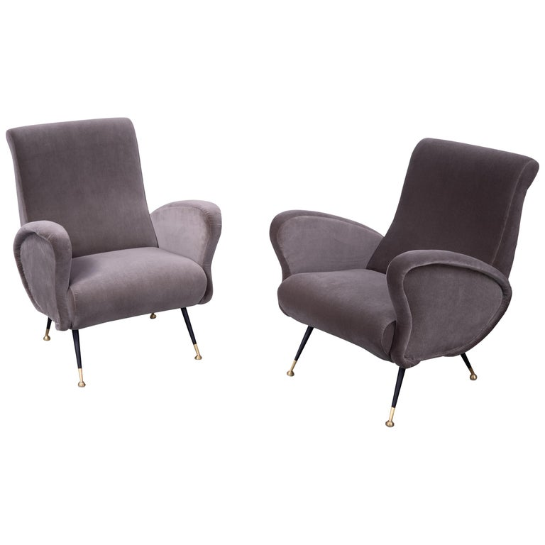 Pair of Sculptural Armchairs, Italy 1950s, Reupholstered in Kvadrat Velvet For Sale