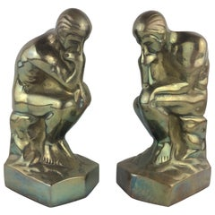Pair of Sculptural Art Deco Brass Bookends after Auguste Rodin The Thinker