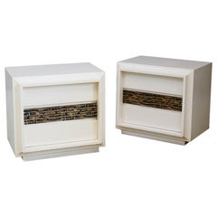 Pair of Sculptural Bedside by Luciano Frigerio in White Wood and Brass, 1970s