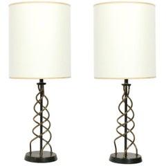 Pair of Sculptural Brass Spiral Lamps