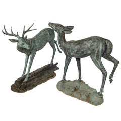 Pair of Sculptural Bronze Deer