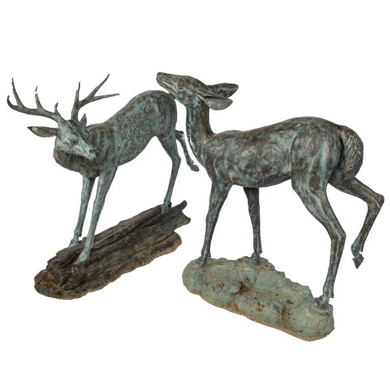 Pair of Sculptural Bronze Deer For Sale