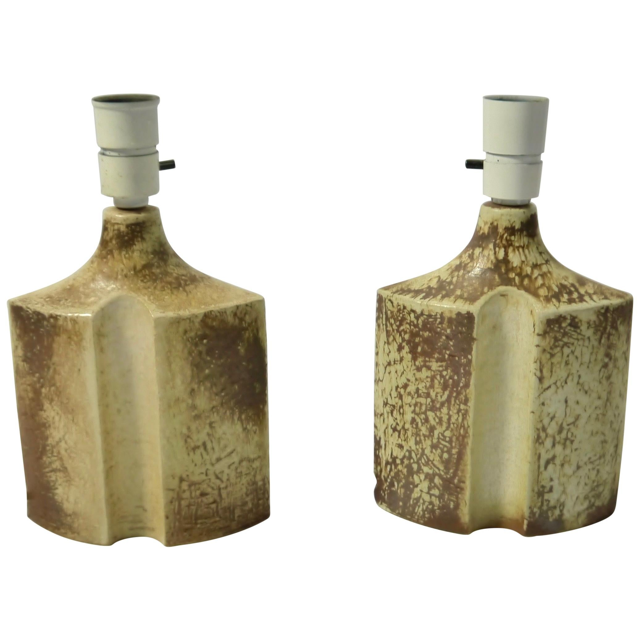 Pair of Sculptural Brutalist Danish Stoneware Lamps by Haico Nitzsche for Soholm
