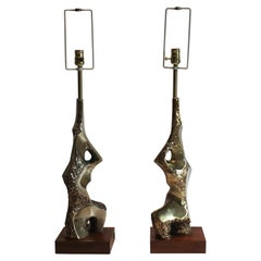 Pair of Sculptural Brutalist Lamps by Laurel