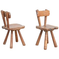 Pair of Sculptural Brutalist Oak Chairs, 1950s