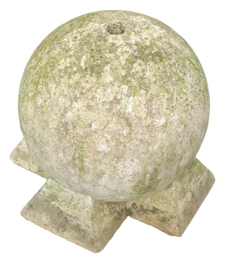 American Pair of Sculptural Cast Stone Spheres For Sale