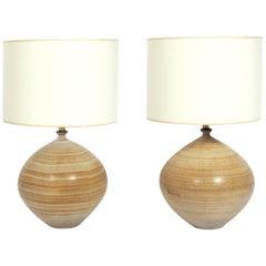 Pair of Sculptural Ceramic Lamps by Design Technics