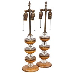 Pair of Sculptural Cerused-Oak Lamps